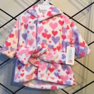 Hooded Baby girls heart bathrobe.